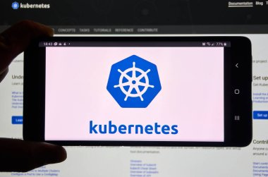 Montreal, Canada - March 08, 2020: Kubernetes mobile app and logo on screen. Kubernetes is open source container-orchestration system for automating application deployment scaling and management
