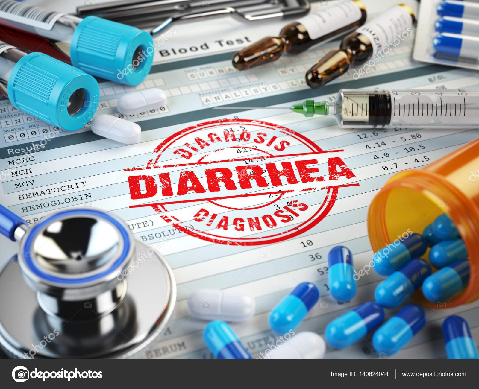 Durchfall Krankheit Diagnose Stempel Stethoskop Spritze Blut T