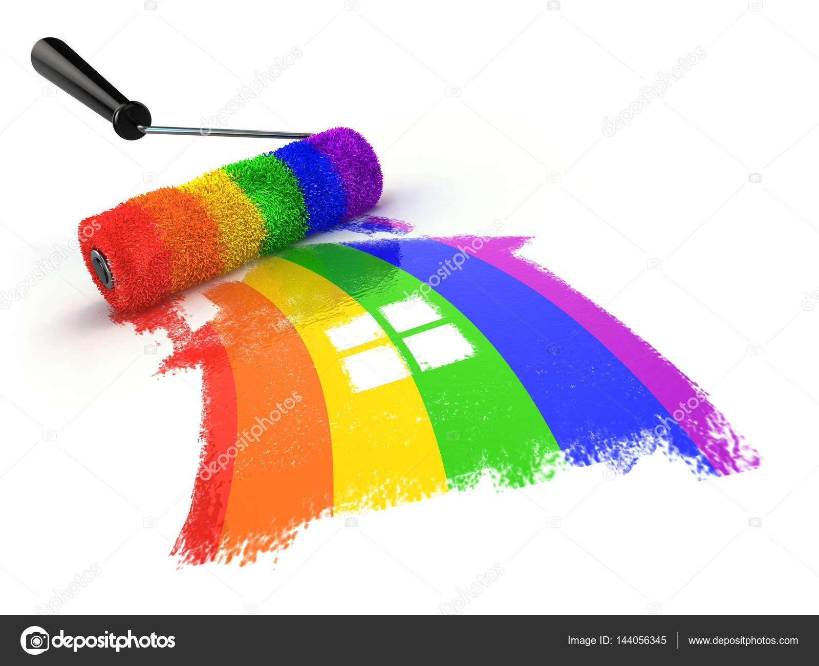 House with colors of gay pride LGBT community. Homosexual relati — Stock  Photo