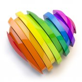 Fotografie Heart with colors of gay pride LGBT community. Homosexual relati