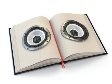 Audiobook or e-learning concept. Open book with loudspeakers on