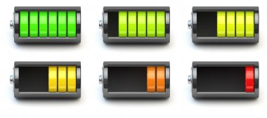 Battery charging. Battery charge level indicators isolated on wh