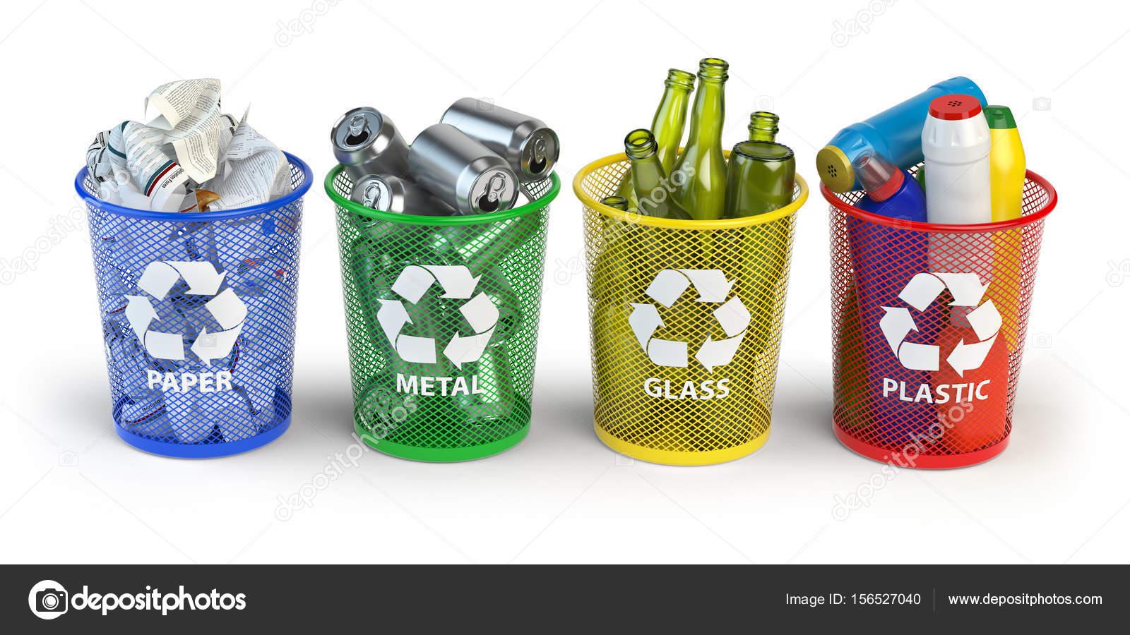 Contenedores De Basura De Colores Para Reciclaje De Papel