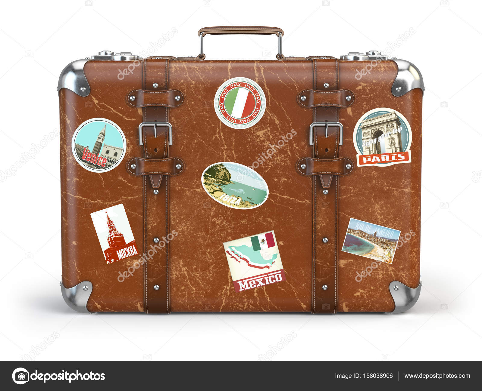 old suitcase baggage with travel stickers isolated on white back stock photo maxxyustas. Black Bedroom Furniture Sets. Home Design Ideas