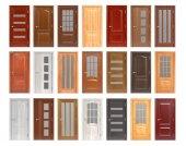 Fotografie Holztüren isoliert auf weißem Hintergrund.