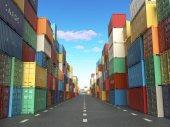Nákladní kontejnery v dopravu dvoře. Doručení přepravní logistické im