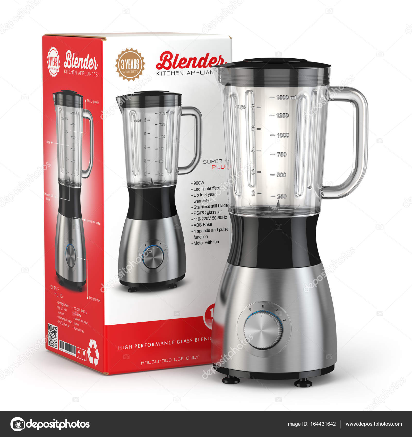 Electric blender with box Kitchen appliance equipment isolated