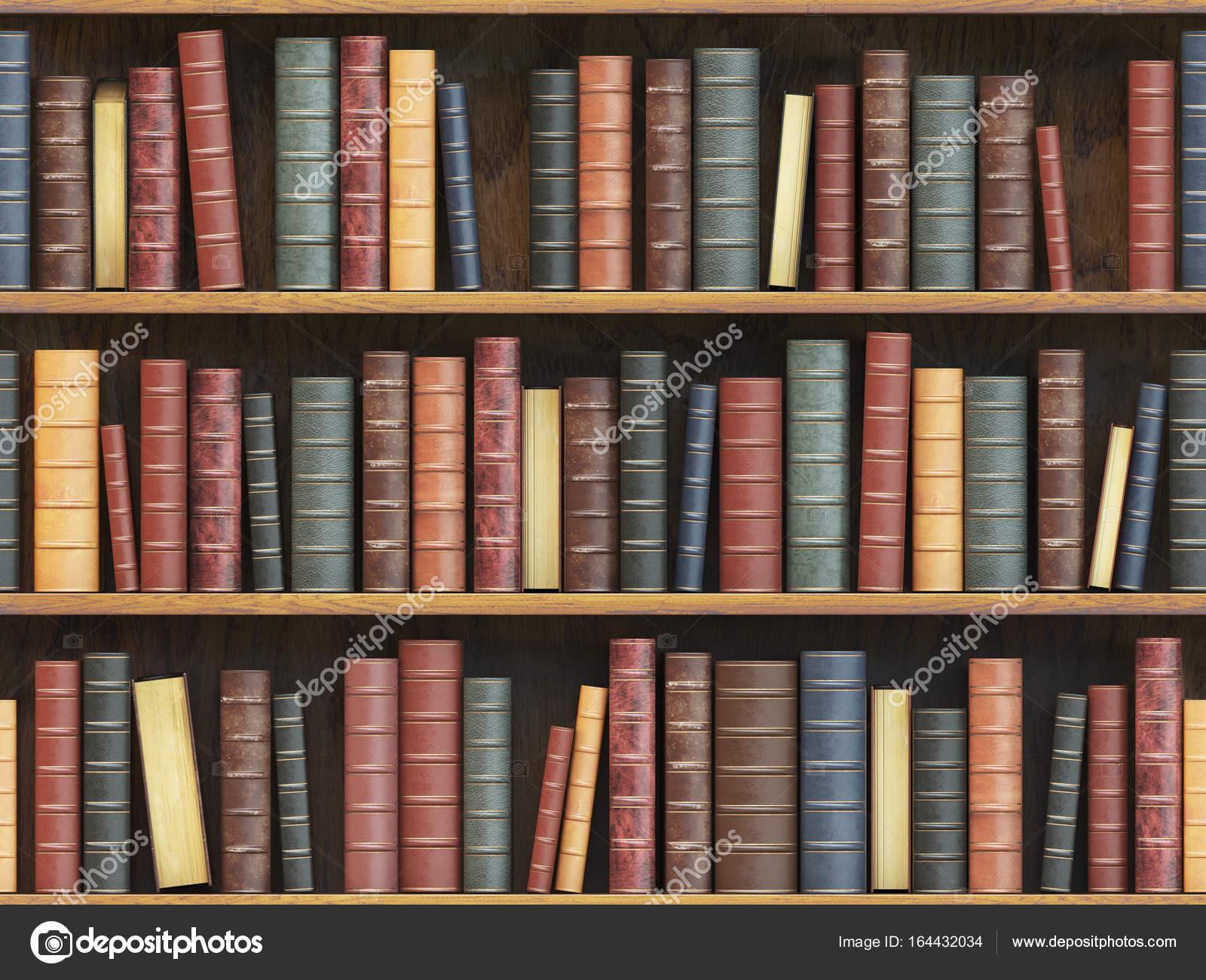 Vintage Books On Bookshelf Old Tiled Seamless Texture Bac Stock Photo