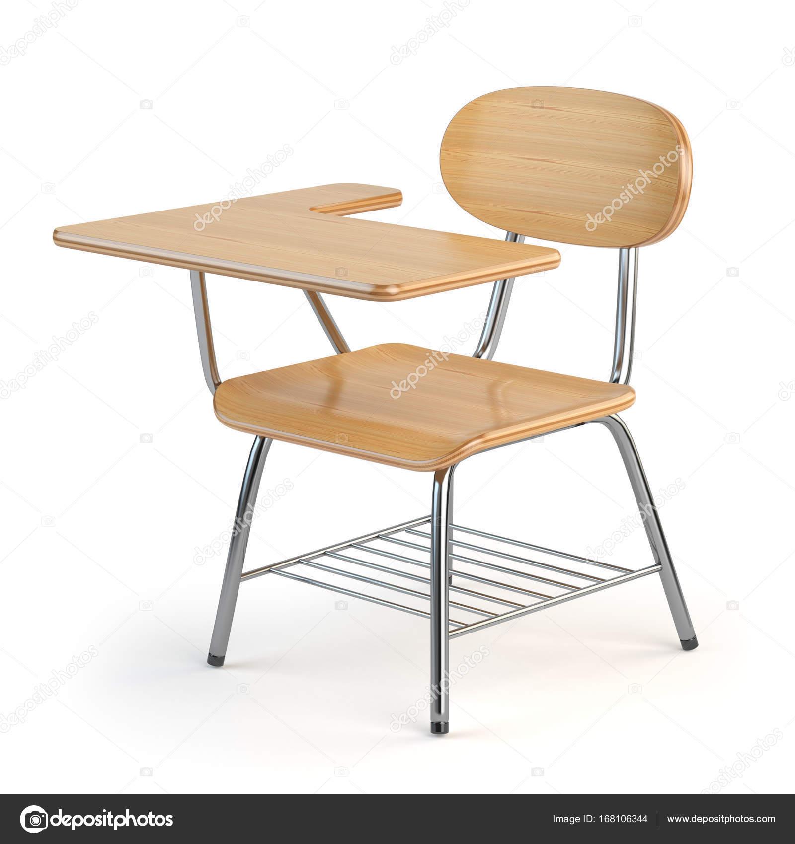 Holz Schule Schreibtisch Und Stuhl Auf Weißem Isoliert Stockfoto
