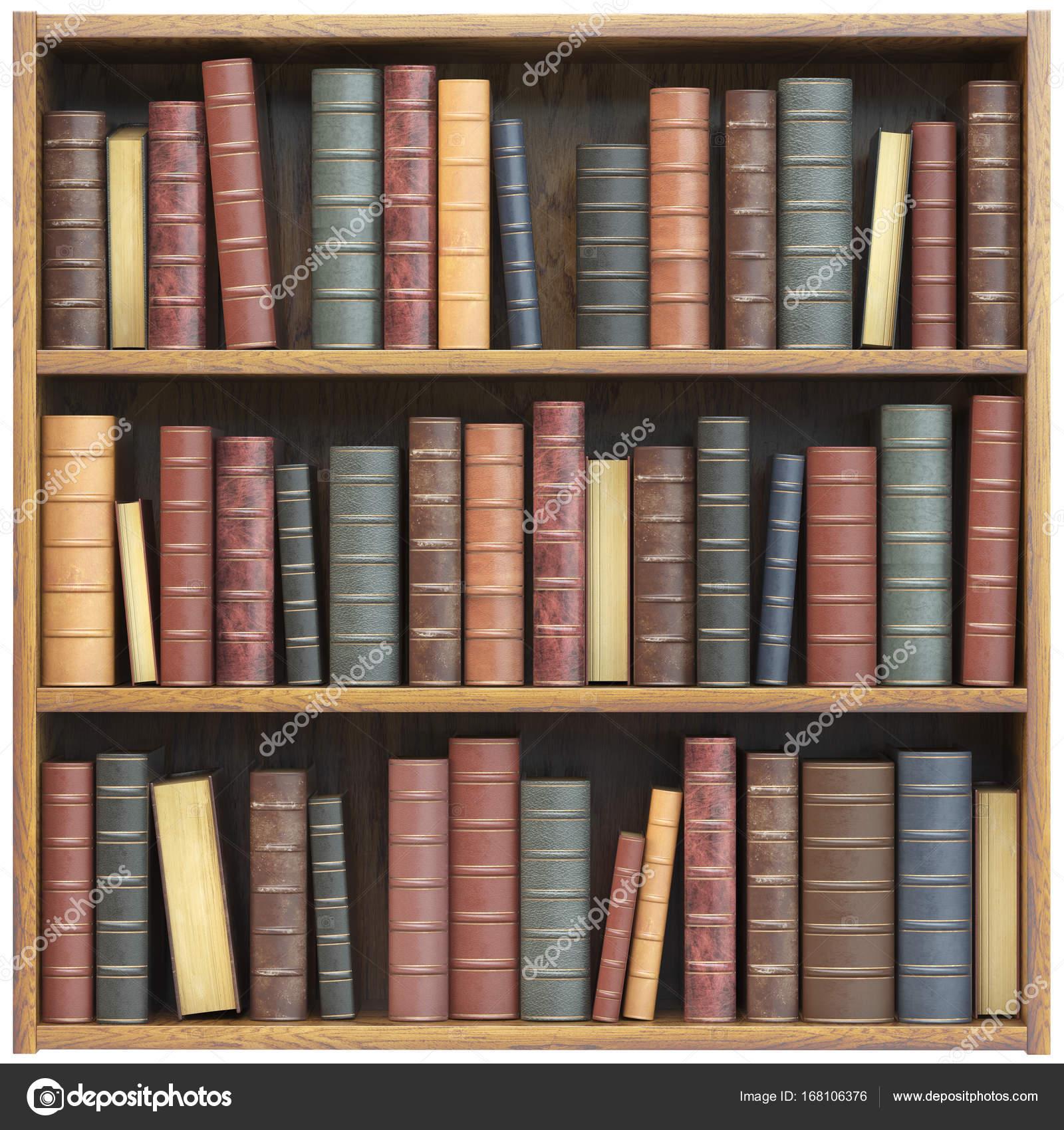 Boekenkast met oude boeken geïsoleerd op een witte achtergrond ...