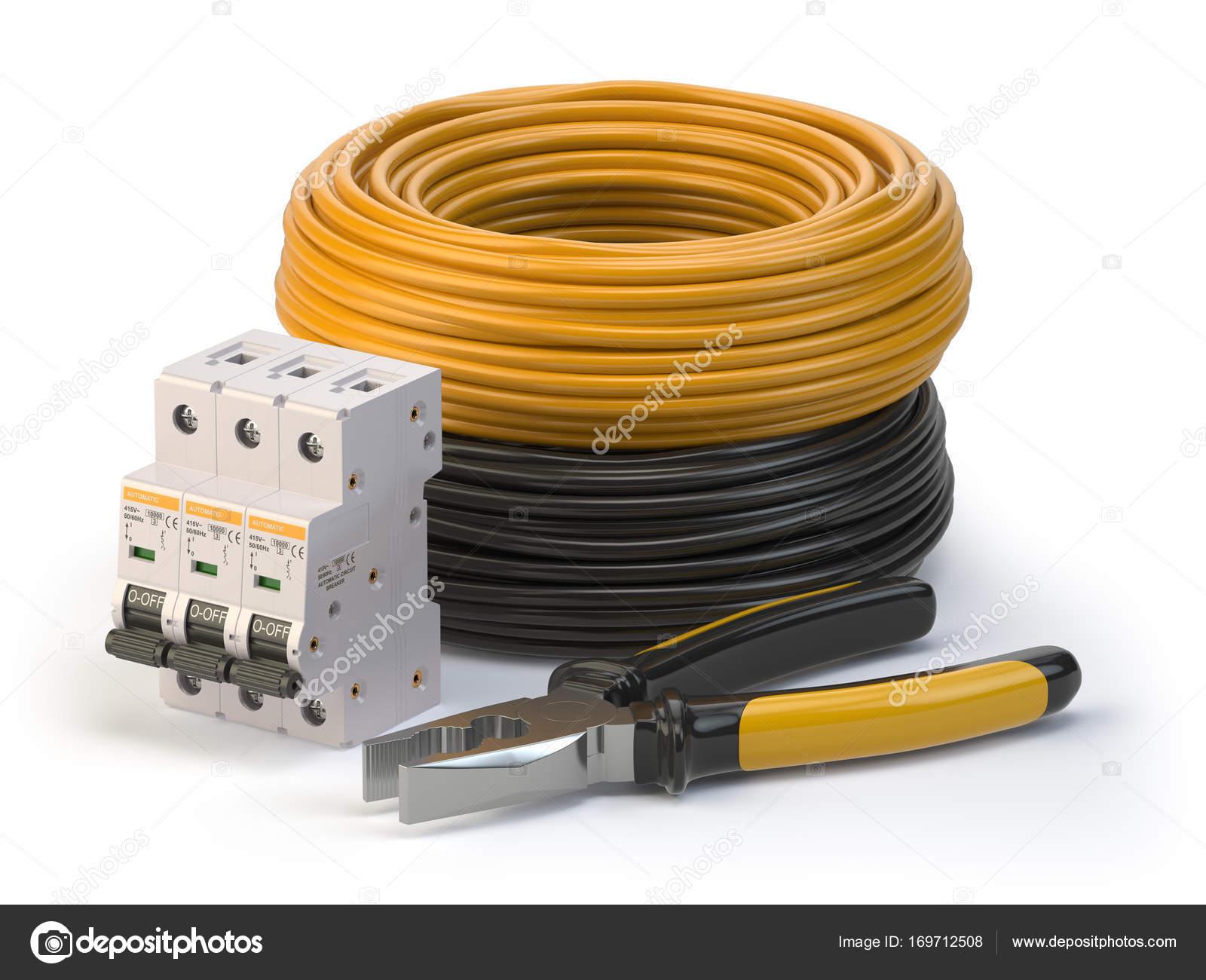 Elektrische Kabel, Zangen und Schaltung Breake Risolated auf weißem ...