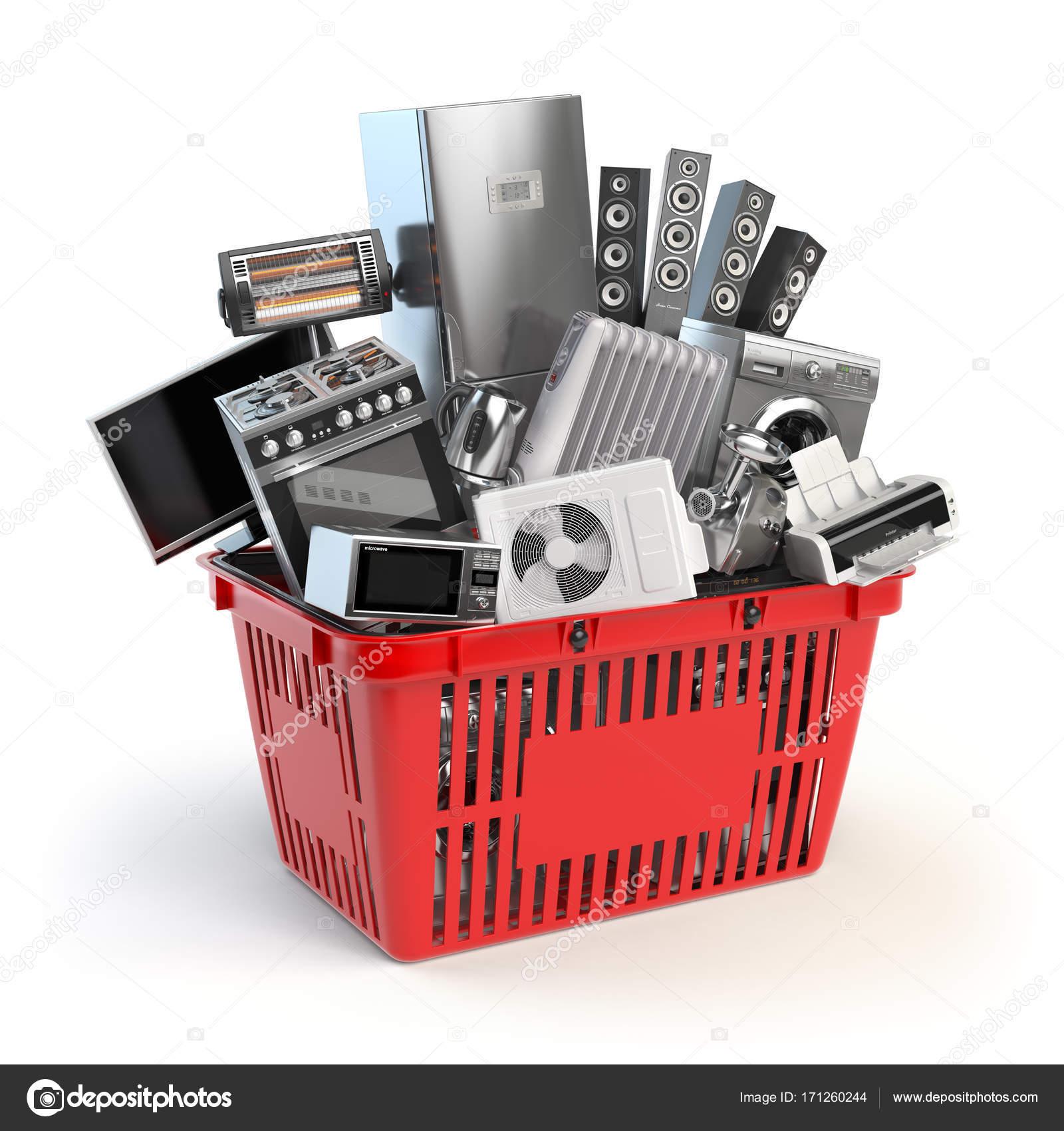 Küchengeräte in den Warenkorb legen. Online-e-Commerce Konzept ...