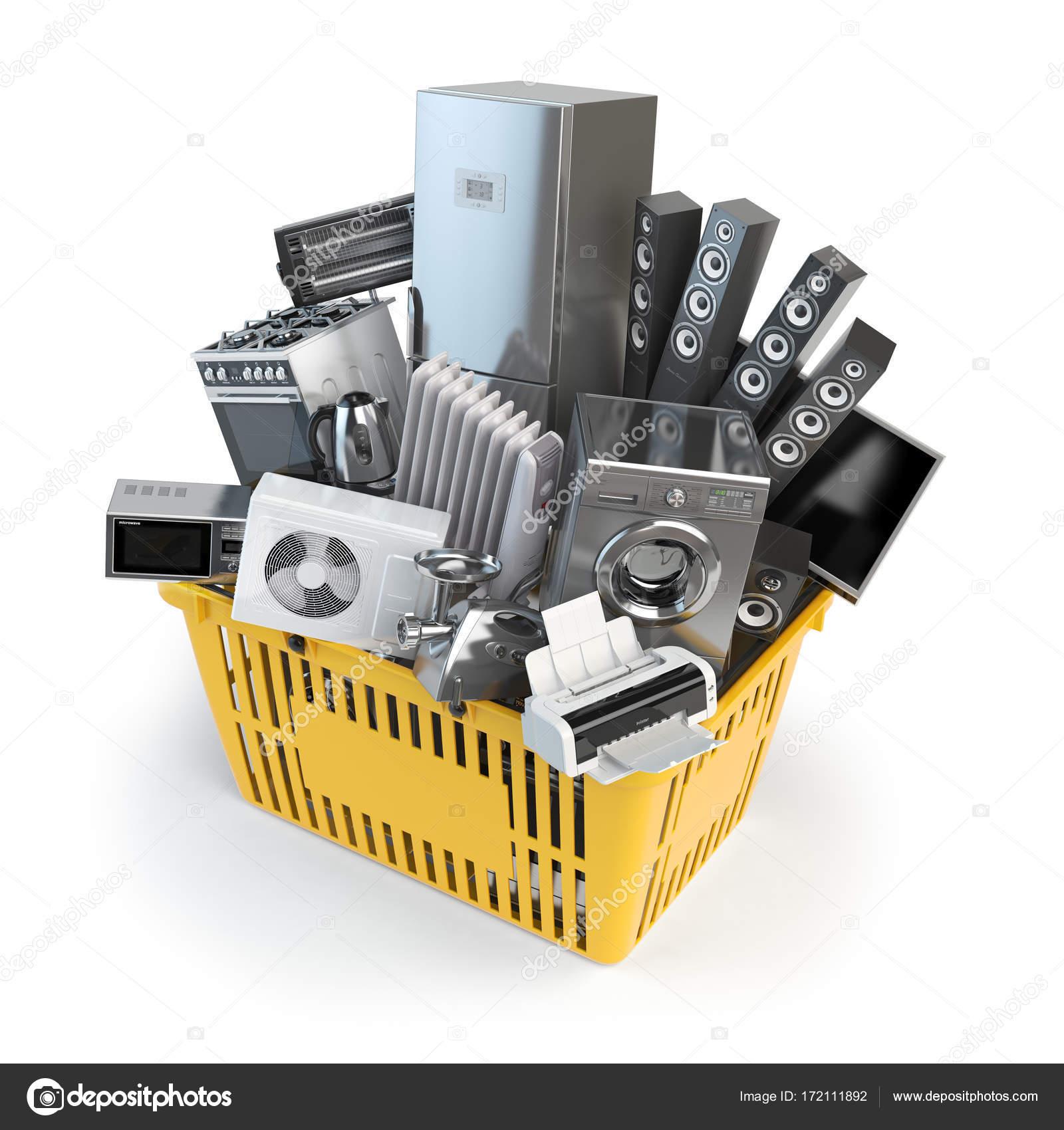 Kitchen Appliances In The Shopping Basket Online E Commerce Concept Stock Photo C Maxxyustas 172111892
