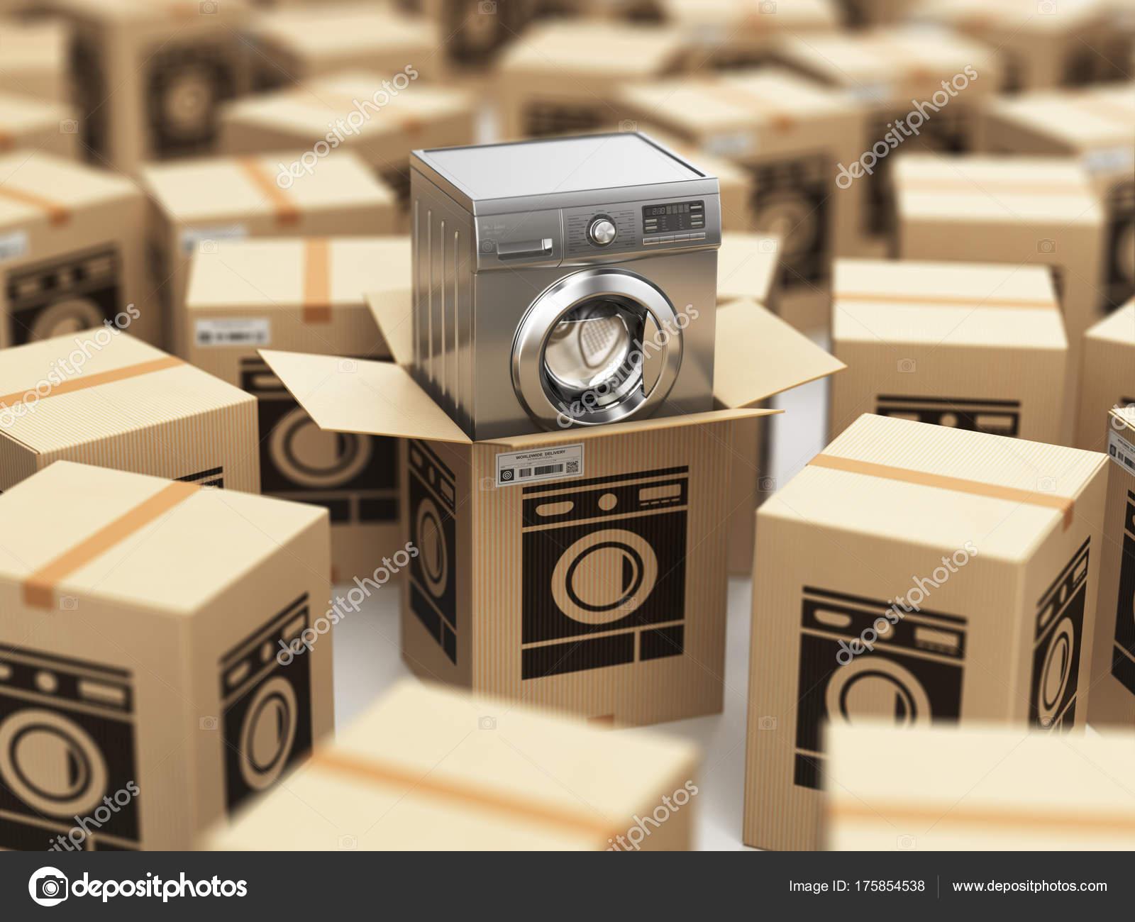 95b0193e605 Πλυντήριο ρούχων σε κουτί από χαρτόνι. Ηλεκτρονικό εμπόριο, internet online  αγορές και η παράδοση έννοια. 3D απεικόνιση — Εικόνα από ...