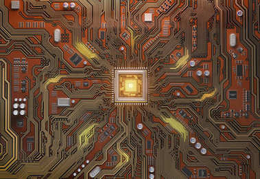 Circuit board with CPU.  Motherboard system chip