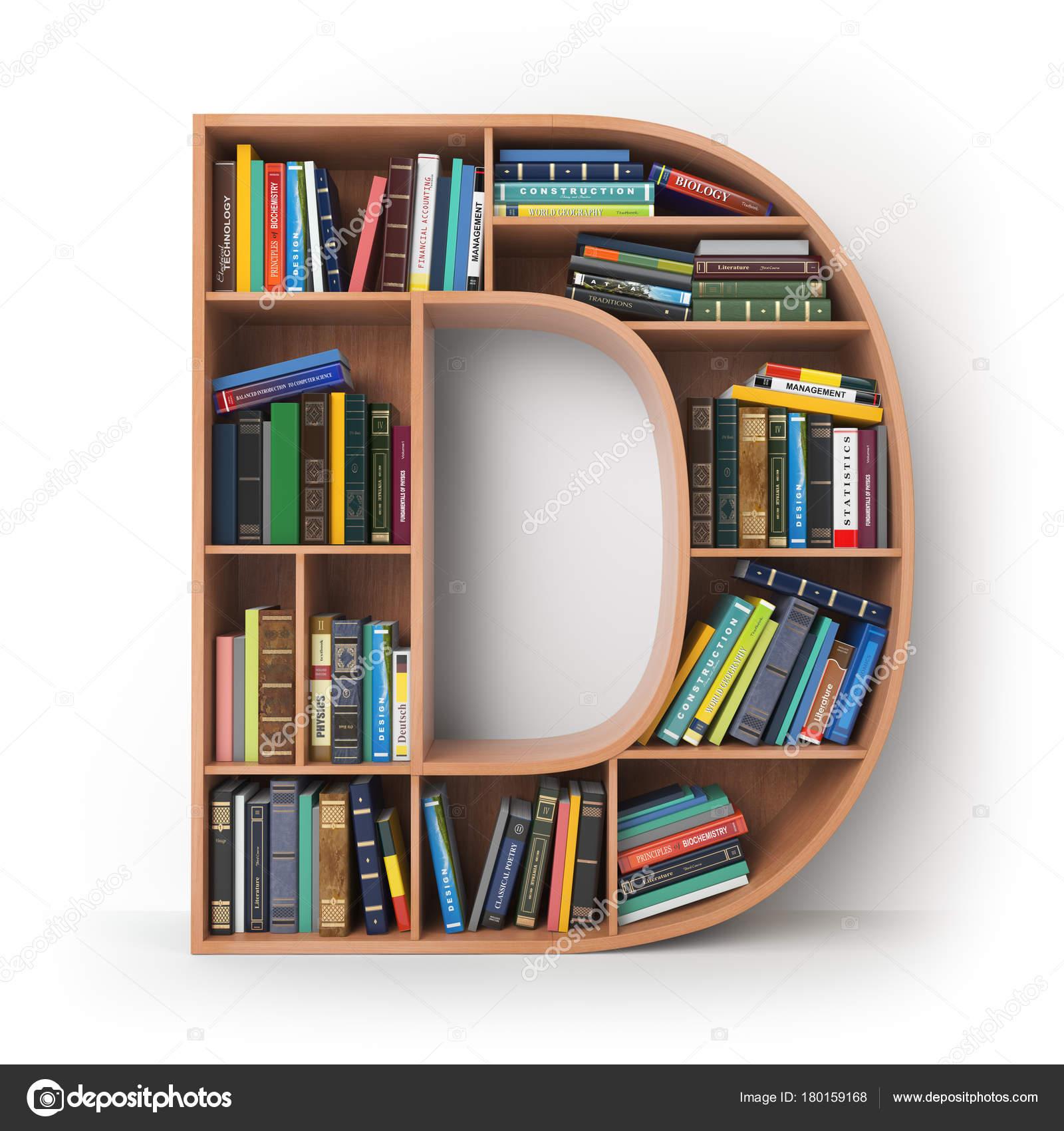 Brief D Alphabet In Form Von Regale Mit Büchern Die Isoliert Auf