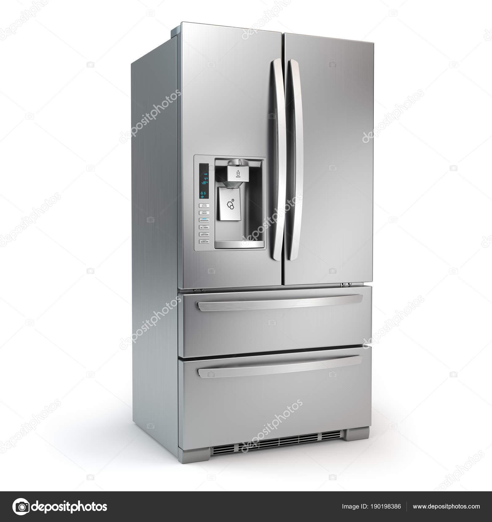 Kühlschrank mit Gefrierfach. Side by side Edelstahl Stahl ...