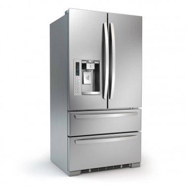 Fridge freezer. Side by side stainless steel srefrigerator  with