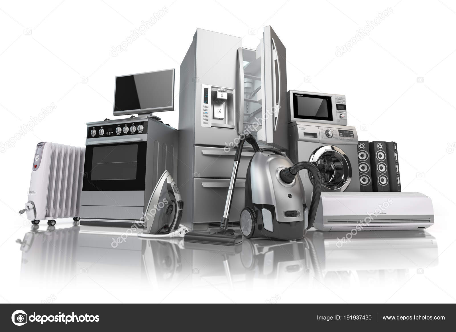 dbaac774c21e3f Gospodarstwa domowego. Zestaw Technics gospodarstwa domowego kuchnia na  białym tle. E-commerce sklep internetowy internet przyrządów. ilustracja 3D  ...