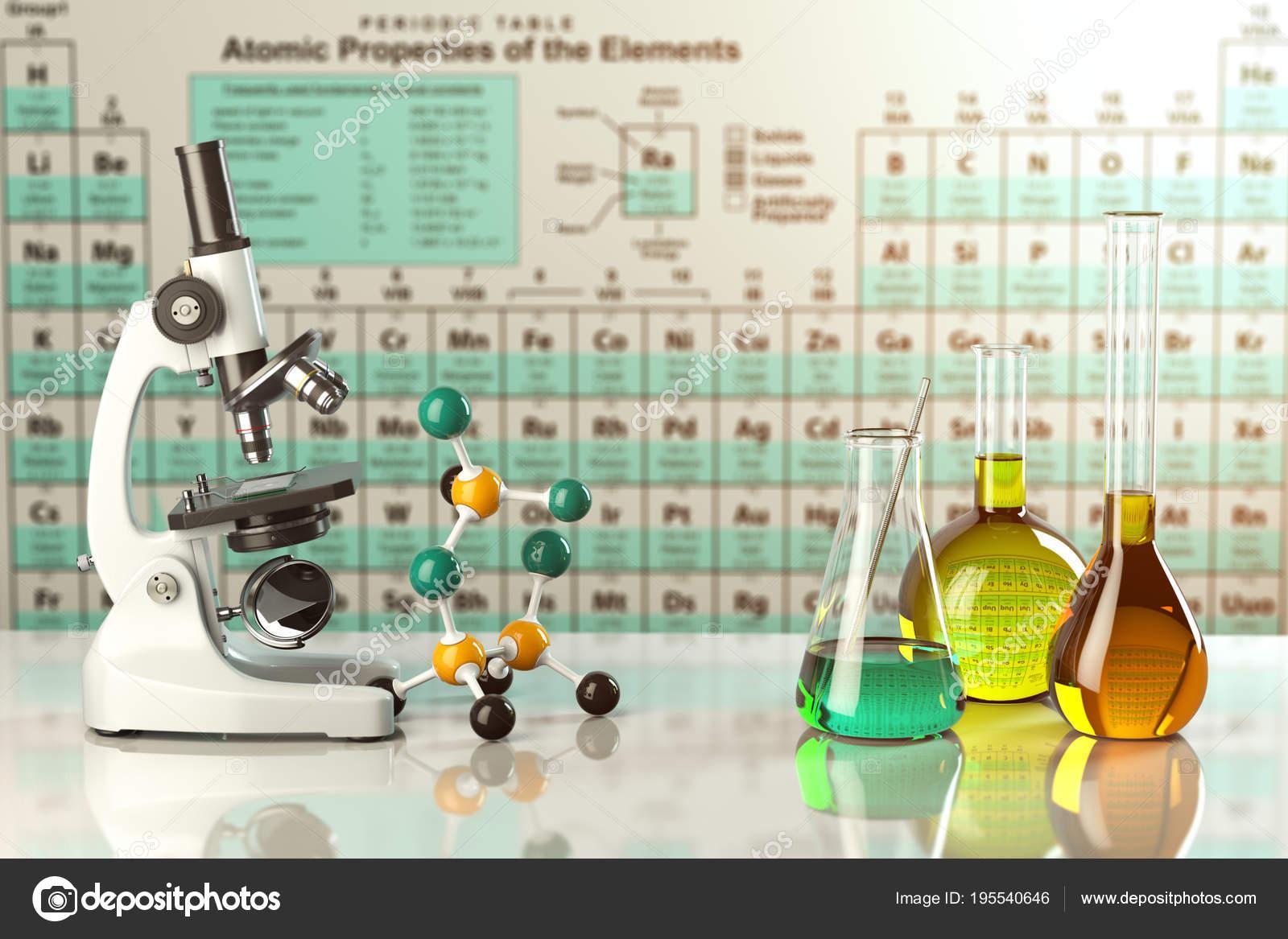 Mikroskop und test glas flaschen und tuben mit farbigen lösung