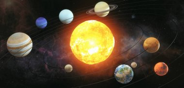 Solar system scheme. The sun with orbits of planets on the Unive