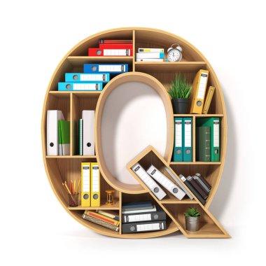Letter Q. Alphabet in the form of shelves with file folder, bind