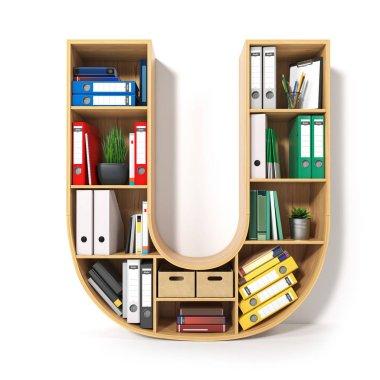 Letter U. Alphabet in the form of shelves with file folder, bind