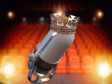 Vintage microphone and king crown. Music award, concert of best