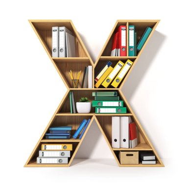 Letter X. Alphabet in the form of shelves with file folder, bind