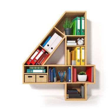Number 4. Alphabet in the form of shelves with file folder, bind