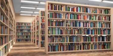 Library. Bookshelves with books and textbooks. Learning and educ