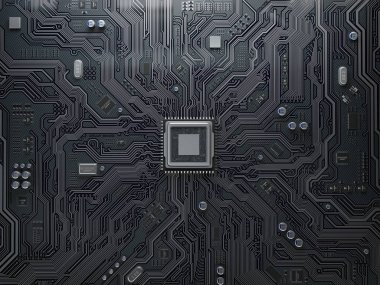 PU chip on circuit board. Black motherboard with central process