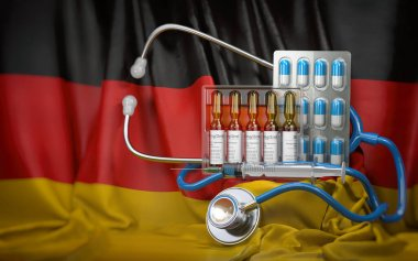 Healthcare, insurance and pharmacy in Germany concept. Pills, vaccine, syrringe and stethoscope in German flag. 3d illustration