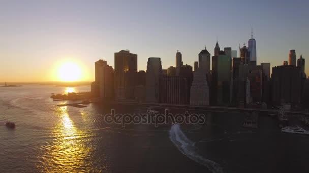 Manhattan centru západ slunce leteckého snímku barvy