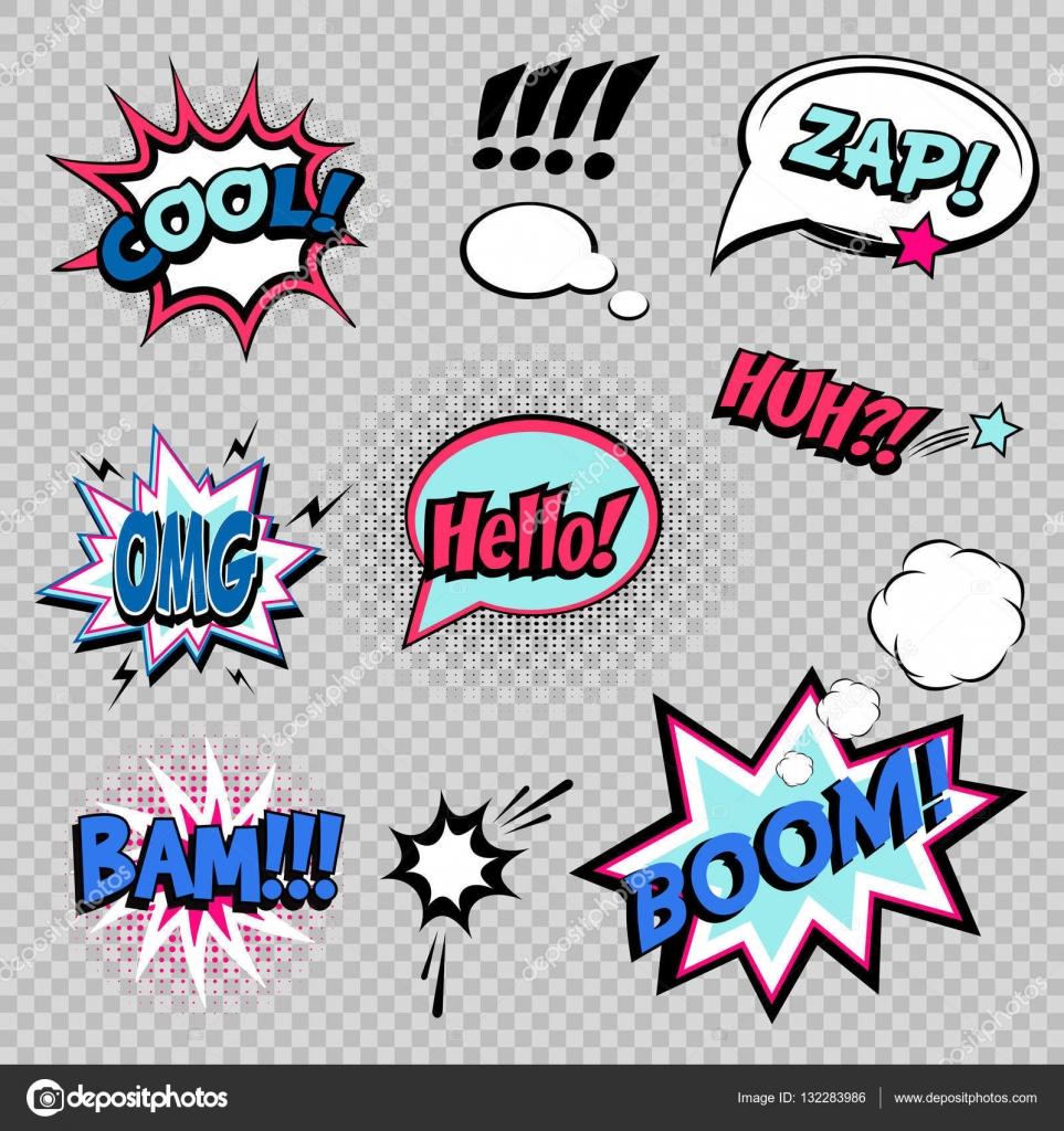 Sammlung von neun Comic-Sound-Effekte — Stockvektor © hyv123 #132283986