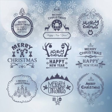 Set of Christmas And New Year labels