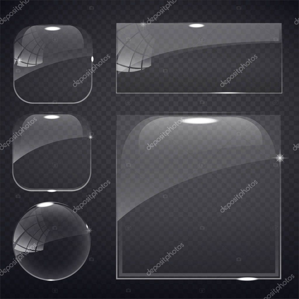 set of transparent glass on sample background.
