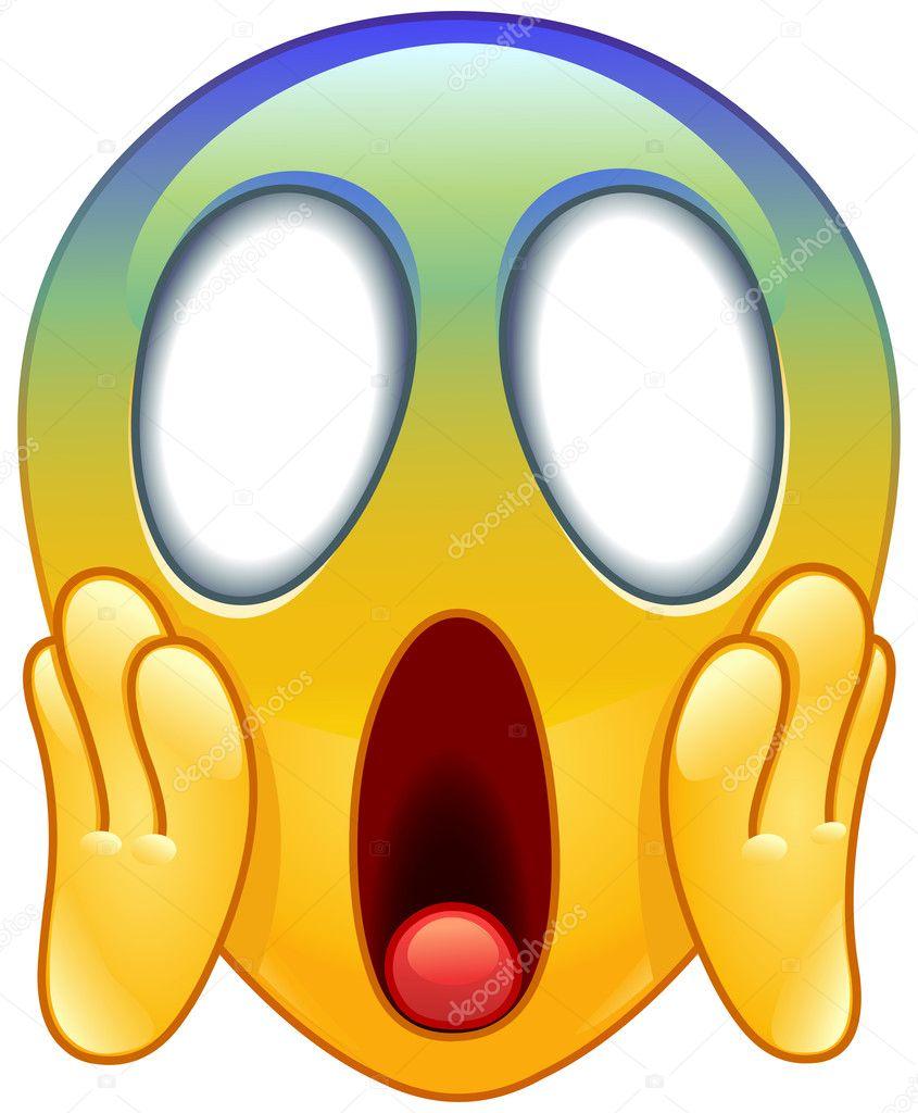 Scared Emoticon Visage hurlant de peur...