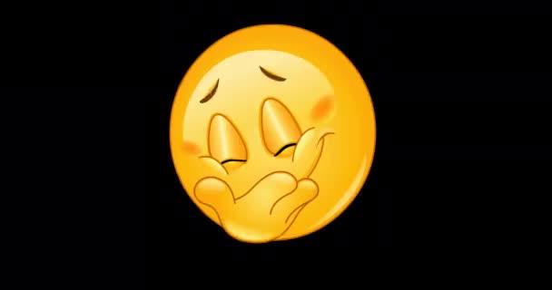 Animace emotikonu emoji skrývající jeho úsměv včetně alfa kanálu