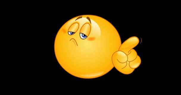 Animace emojiho emotikonu, který nehýbe prstem. Včetně alfa kanálu.