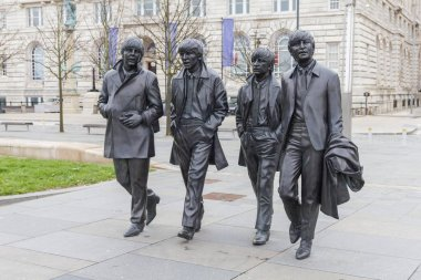 Bronze statues of the Beatles in Liverpool Waterfront