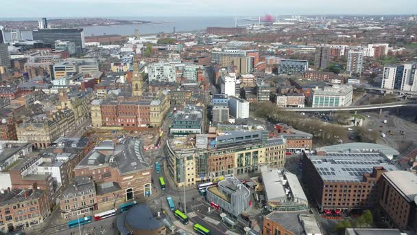 Aerial view of Liverpool, England, UK