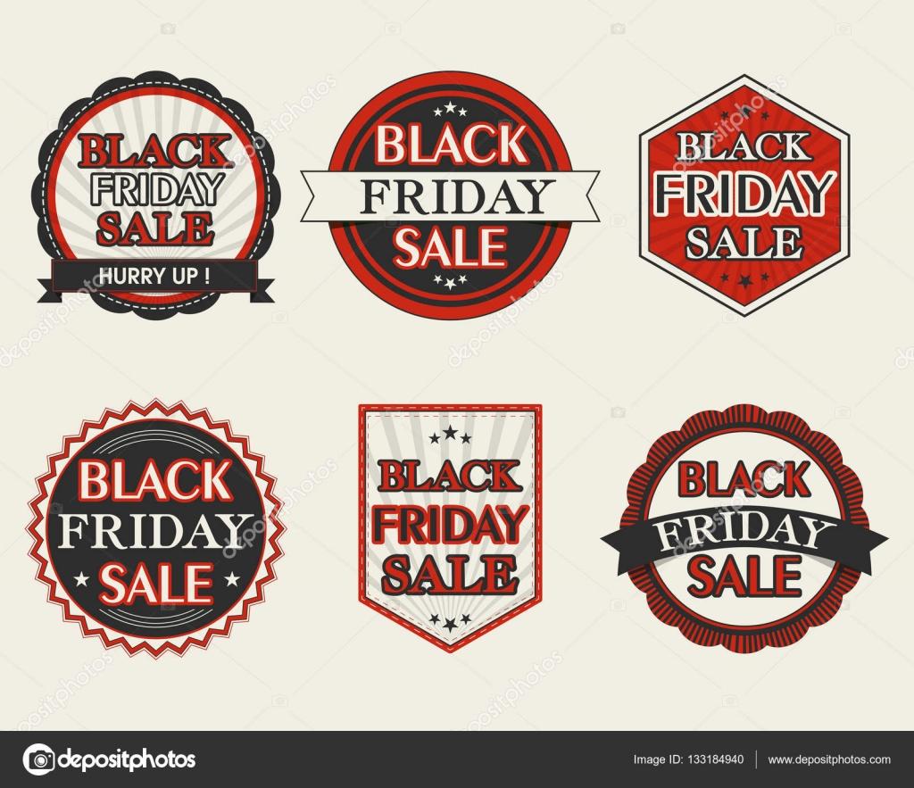 Collection de stickers de vente vendredi noir image vectorielle