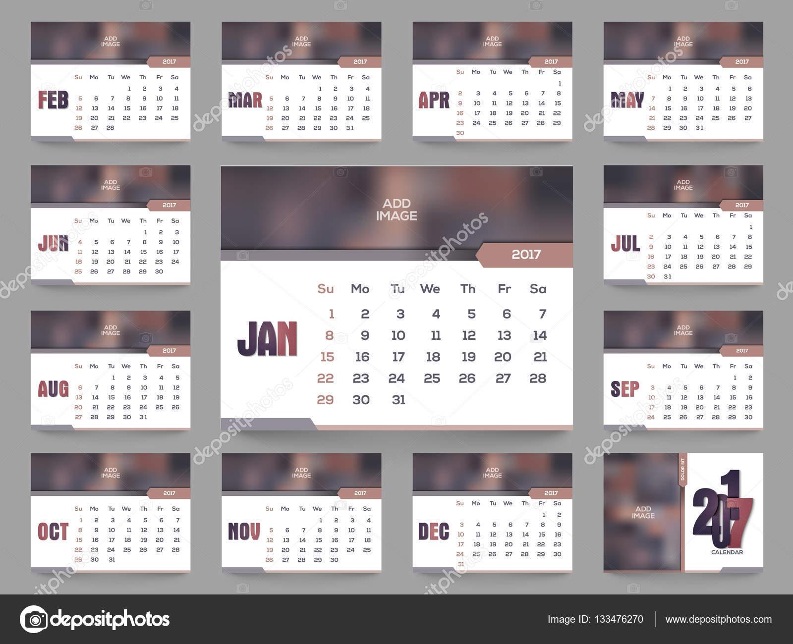 2017 年間の年間カレンダーのテンプレート ストックベクター