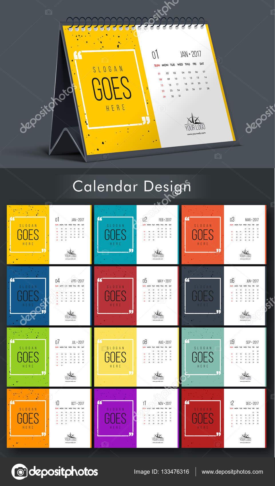 Calendar Typography Zenfolio : 다채로운 해마다 달력 디자인 — 스톡 벡터 alliesinteract
