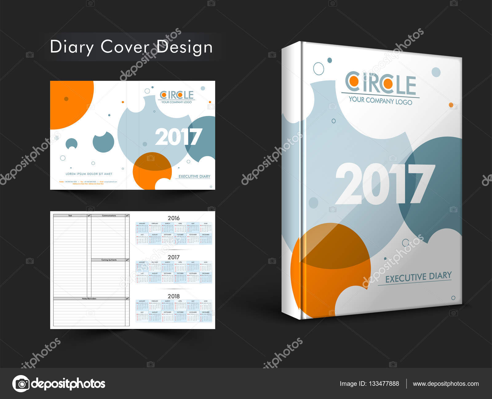 Executive Diary Template Personal Organizer Notebook Or Cover Design For The Year 2017 Vector By Alliesinteract