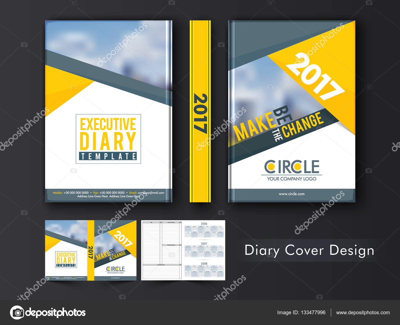 executive diary template or cover design stock vector