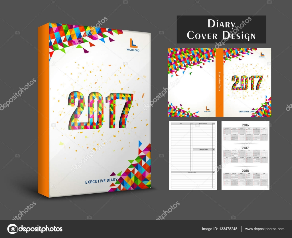 Colorful Abstract Design Decorated Diary Cover Personal Organizer Or Notebook Template Layout For The Year 2017 Vector By Alliesinteract