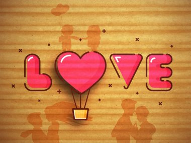 Pink Text Love with heart shaped hot air balloon on creative grungy background for Happy Valentine's Day celebration. stock vector
