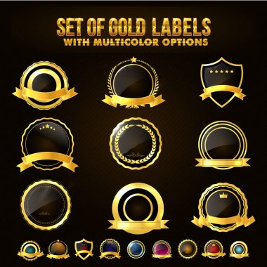 Set of Golden Shield, Stickers, Labels, Ribbons.